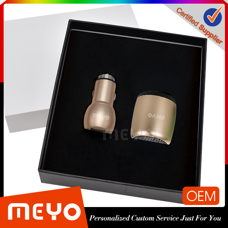 Wholesale promotion business gift items portable car charger bluetooth speaker gift set for travelling