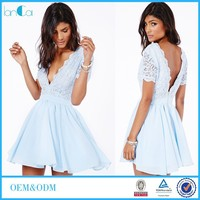 2016 Women V neck Short Sleeve Light Blue Chiffon Lace Skater Dresses