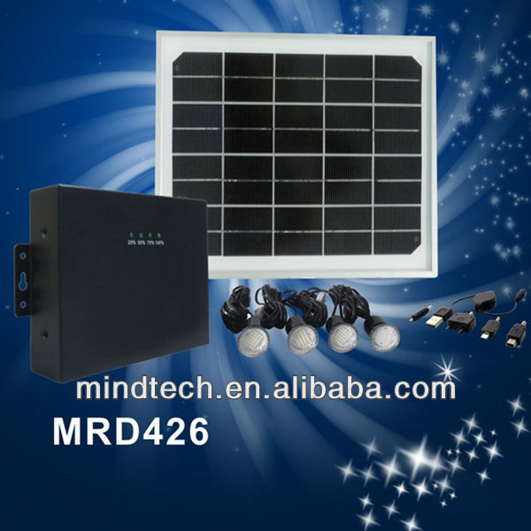 8W solar panel Africa and Asia Hot seller DC solar lighting for home with USB port to charge mobile phone