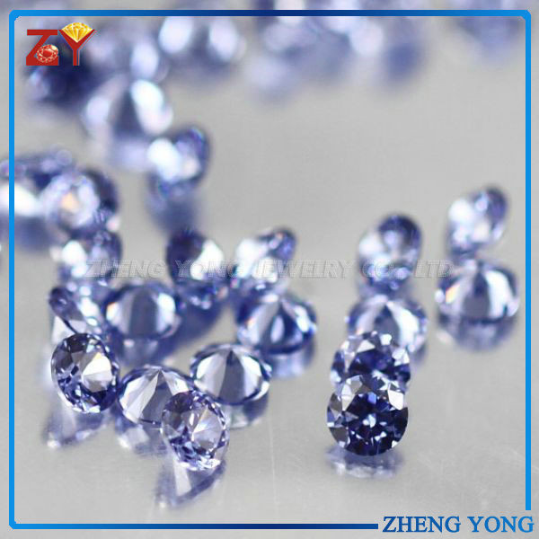 high quality AAAAA cubic zirconia brilliance cut tanzanite gemstone man made round cz beads