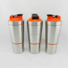 Eco-Friendly Feature Outdoor Recyclable 700ML Double Wall Stainless Steel Shaker Water Bottle with Plastic Protein Box