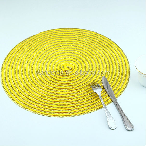 custom plastic round placemats yellow