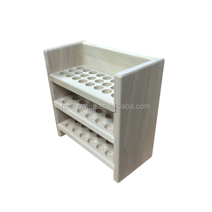 High quality hardwood display shelf walnut essential oil display shelf with removable shelves