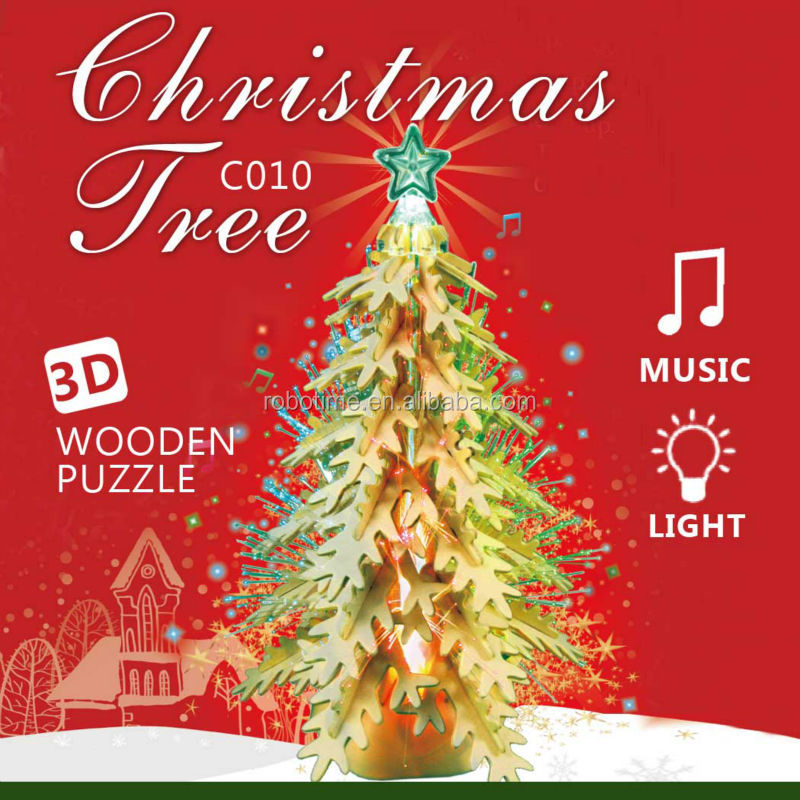 2014 new gift 3D wooden puzzle Christmas tree singing and lighting