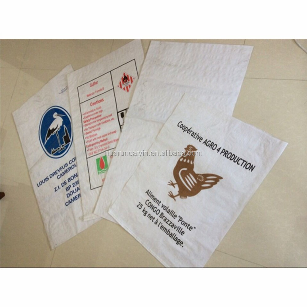 50kg pp woven bag for chicken feed, new material chicken feed woven bag 50kg, chicken feed woven plain sack