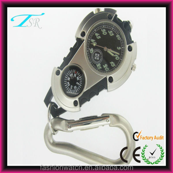 Wholesale price mountain climbing carabiner clip digital watch with flashlight guaranteed 100% carabiner compass watch
