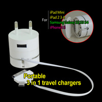 New 3 in 1 Retractable usb2.0 data charge sync cable 10 in 1 multiple usb charger cable usb mobile travel charger EU US PLUG