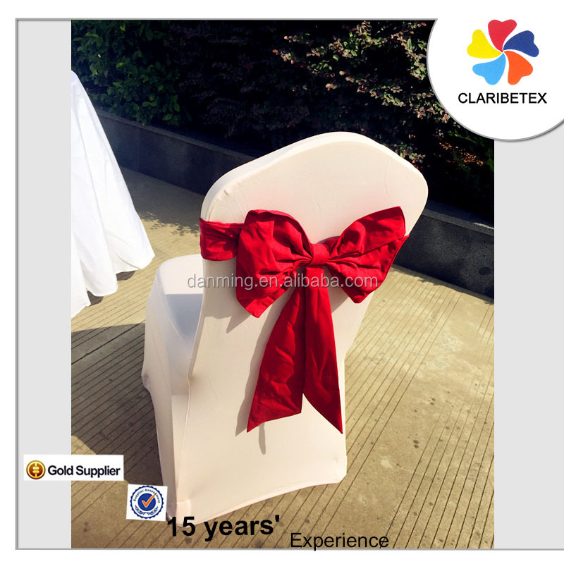 christmas ornament wholesales fancy polyester red bowknot chair sash /chair bow for wedding