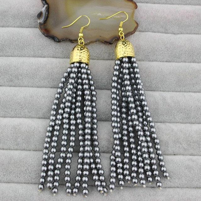 CH-LSE0113 Fashion grey pearl beaded earring, pearl pendant earrings,70mm long pearl tassel jewerly earrings for women wholesale