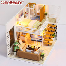 Wooden furniture toy set kid kit doll house with led lights+doll house dollhouse miniature villa