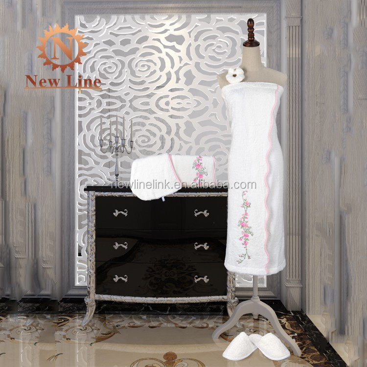 100% Cotton Women Embroidery Bath Wrap Towel Set