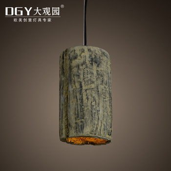 Cylindrical shape cement lamp handmade dark green concrete pendant light wholesale