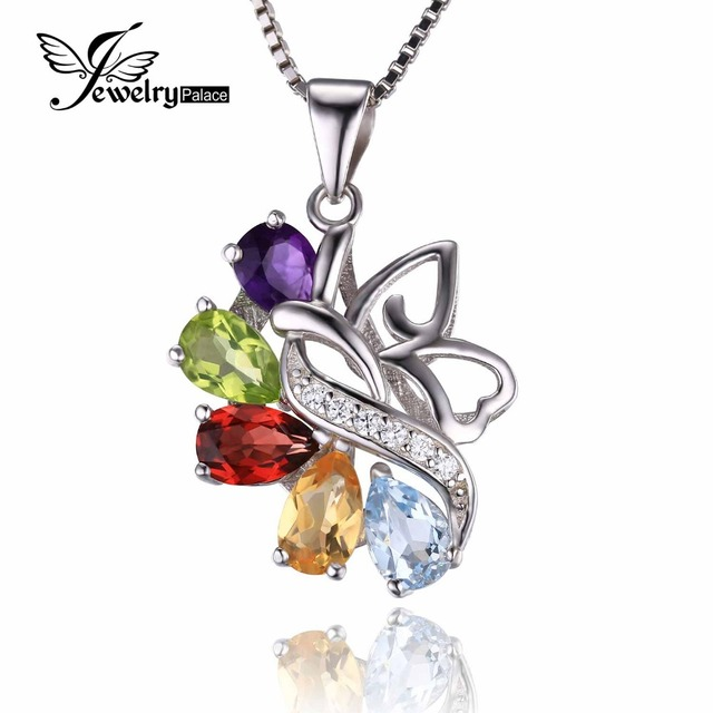 JewelryPalace Butterfly 2.4ct Genuine Amethyst Garnet Peridot Citrine Blue Topaz Pendant 925 Sterling Silver Jewelry For Women