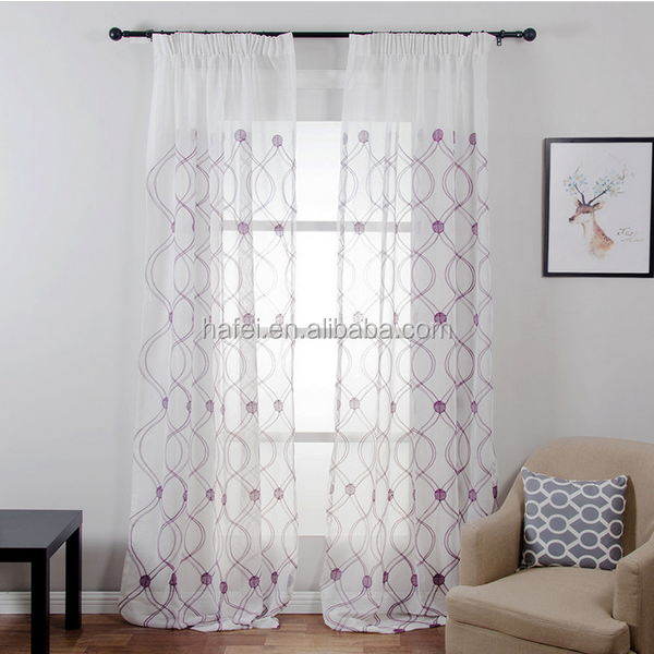 Good price plain color wave design jacquard sheer curtains fabric