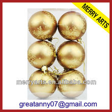 china manufacturers special hot new custom printing PVC Boxed inflatable bronze christmas ball ornaments