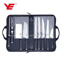 Classic Line 9pcs stainless steel Japanese style wholesale knife set with santoku knife in zip bag