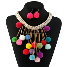 2017 Handmade Ethnic Chunky Statement <strong>Necklace</strong> Colorful Cotton Ball Tassel Pendant Rope Chain Flower Choker <strong>Necklace</strong>