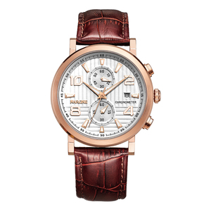 luxury chronograph brown leather rose gold mens wrist watch