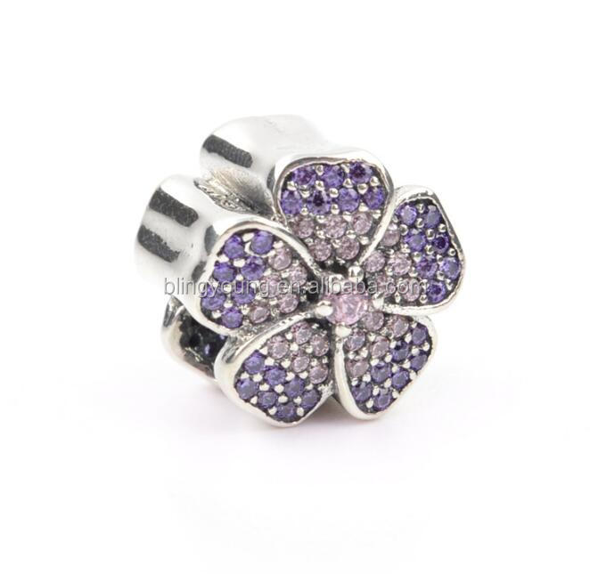 Custom logo name sterling silver purple pave beads