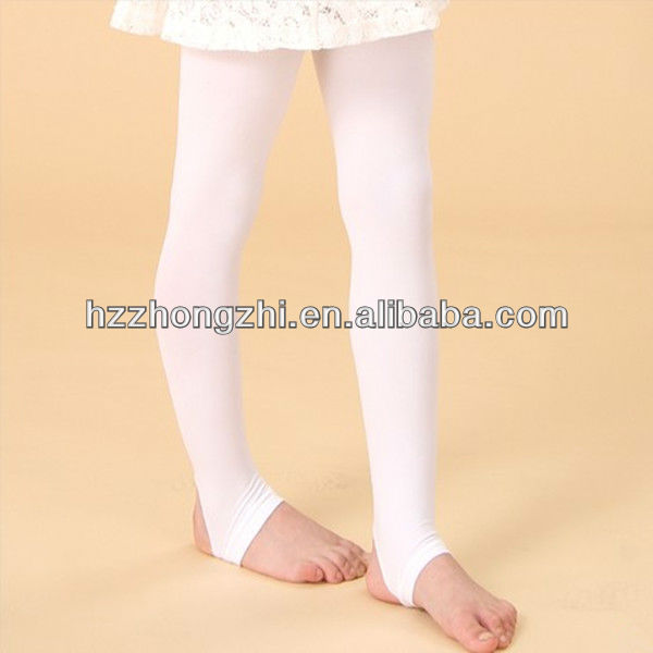 Girl's plain white long tube preety stirrup warm nice pantyhose/tights