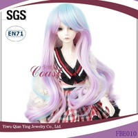 fashion bule and purple synthetic curly lolita 1\4 BJD doll wigs