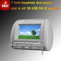 7 inch jeep grand cherokee headrest dvd player with MP3 MP4 SD USB FM IR SPEAKER