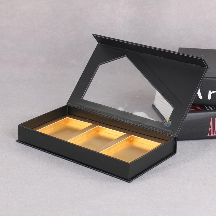 luxe black cardboard with pvc window gourmet chocolate gift boxes