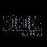 Dog Lover CROUCHING BORDER COLLIE Iron on Rhinestone transfer designs Bling