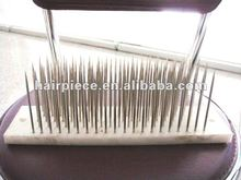 Professional hair tidying and mixing hackle brush tool, stainless steel teeth human hair extension hackle