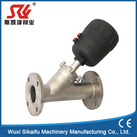 china Manufacture pneumatic flanged angle seat control valve drawing with CE certificate