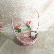 Cheap plastic lined single pink wicker flower basket with long handle