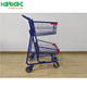 chrome wire circular tube shopping basket trolley double layer plastic basket shopping cart with wheels