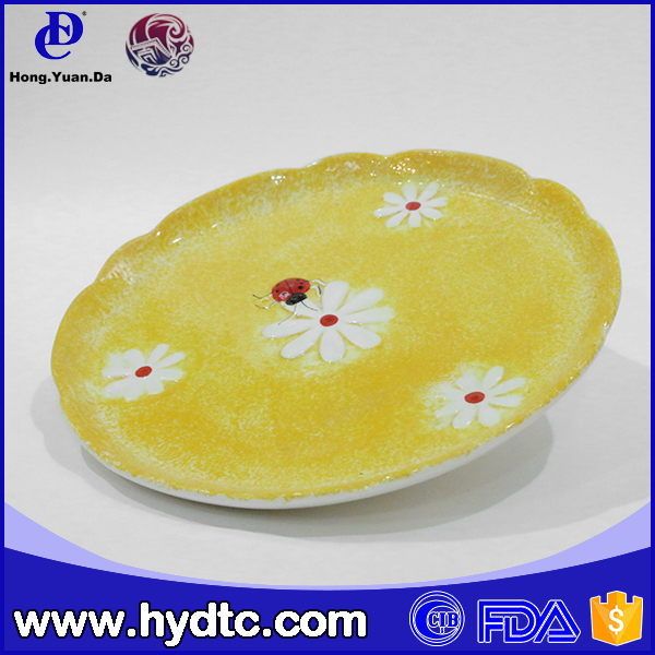 round ceramic hand painting decoration cake plate
