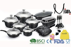 29pcs Diecasting Aluminum classic eco-friendly big black cook
