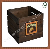 2015 Fashion custom print logo solid six pack wooden beer carrier with blackboard