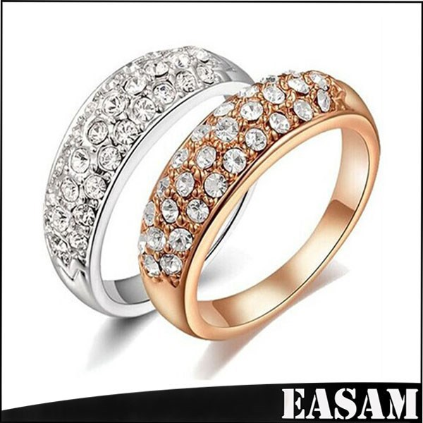 2015 Fashion Jewelry,Round Clear Genuine Austrian Crystals 18K Gold /Silver Plated Wedding Ring