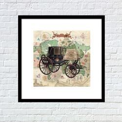 vertical wall decor printer maps carriage photo background canvas art painting for living room