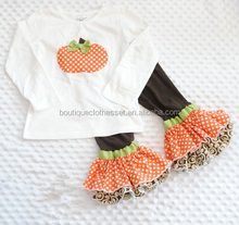 Newest Infant Pumpkin Outfit Lovely Pumpkin Applique Shirt with Double Ruffle Pant Outfit Halloween Clothes Set