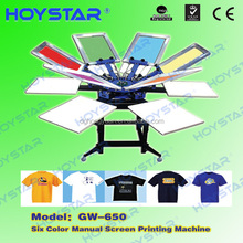 Manual carousel 6 color screen t shirt printing machine
