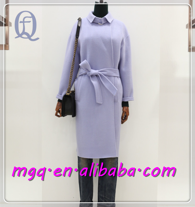 Two kinds of wear method cashmere coat Suit collar with belt Sided Hand sewn cashmere coat