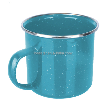 Promotional 350ml Speckle and metal Enamel coffee Mug with custom logo and color