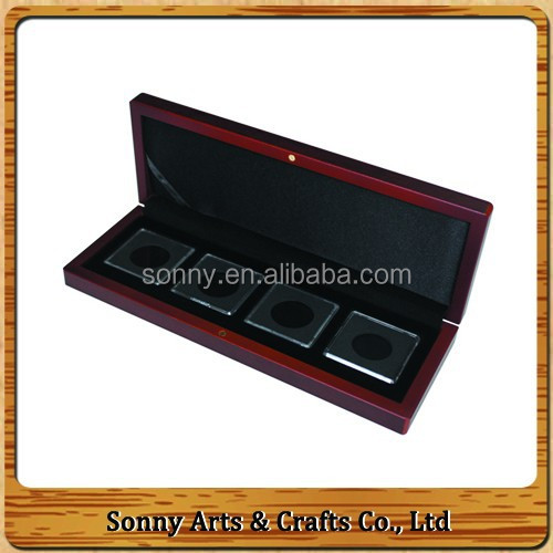 Custom Company Logo Printed Wooden Display Coin Case