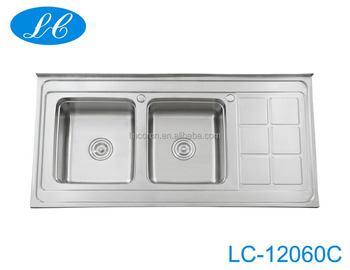 Top- under-mount large medium Stainless Steel Double Bowl Drop-In kitchen Sink with 2 faucet holes
