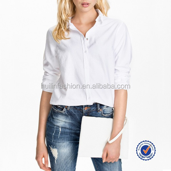 latest design white elegant long sleeve womens semi formal tops and blouses