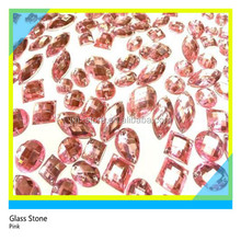 Fashionable Loose Different Shapes Crystal 8mm Pink Glass Stones for Garments Decoration