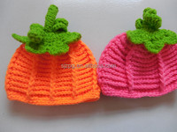 Manufacture the pumpkin crochet baby girl hats
