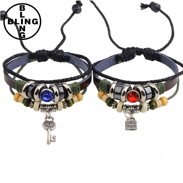 Alice-2017 hot Key lock couple lovers woven leather bracelet