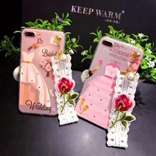 Factory price Women Wedding Dress Lace Back Cover with Hand Strap phone Case for iPhone 6 / 6plus/ 7/ 7plus/8 / 8plus/ X