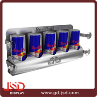Supermarket display products top selling red bull energy drink wall display shelf