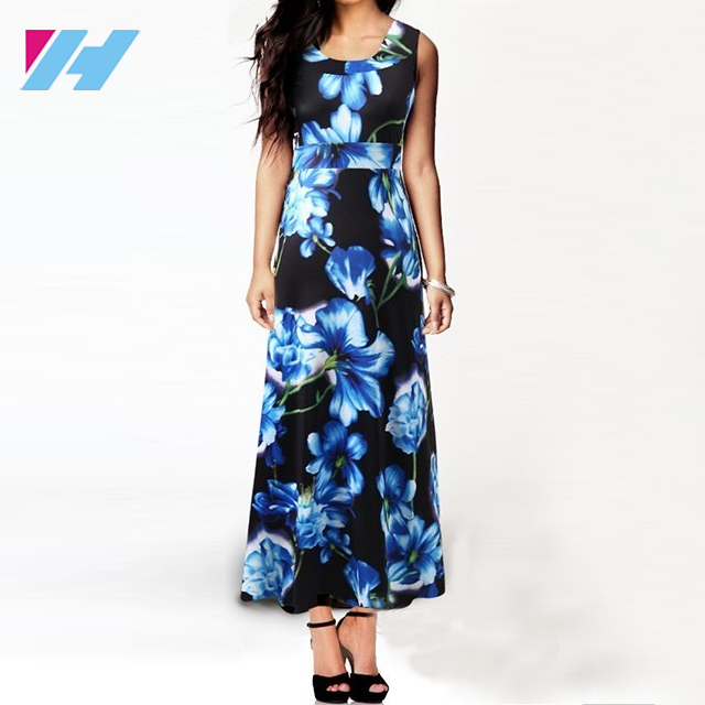 Yihao Boho clothing 2017 brand New Summer Women Sleeveless Floral Print maxi Long Dresses Plus Size